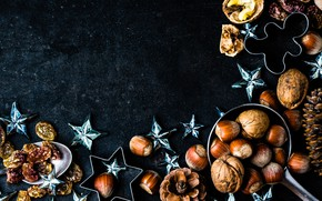 Picture decoration, New Year, Christmas, nuts, happy, Christmas, bumps, New Year, Merry Christmas, Xmas, spices, decoration, ...