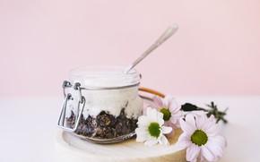 Picture flowers, food, chocolate, nuts, dessert, yogurt