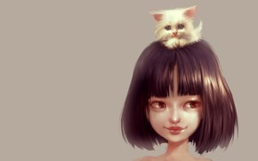 Picture baby, friendship, girl, kitty, pussy, pet, Ilse Harting, Cat Lover