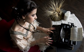 Picture girl, typewriter, ears, manicure, typist