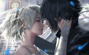 Picture girl, love, fantasy, game, art, blue eyes, kiss, boy, mood, hug, painting, artwork, fantasy art, ...
