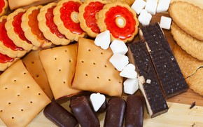 Picture cookies, candy, cakes, snacks