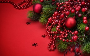 Picture holiday, balls, new year, beads, decoration, fir-tree branches
