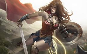 Picture Figure, Hair, Sword, Costume, Hero, Brunette, Cloak, Wonder Woman, Superhero, Hero, Art, Art, Brunette, Shield, ...