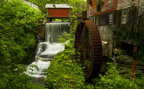 Picture water, trees, waterfall, wheel, house