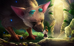 Picture game, boy, animal, human, vegetation, horn, The Last Guardian