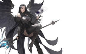 Picture look, girl, pose, weapons, background, wings, costume, fantasy
