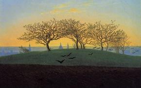 Picture trees, landscape, birds, picture, Caspar David Friedrich, Hill and Arable Field near Dresden