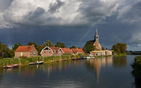 Wallpaper clouds, river, the sky, the sun, Netherlands, boats, trees, the reeds, home, Oudendijk, Church, clouds