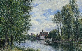 Picture trees, landscape, house, river, picture, Alfred Sisley, Alfred Sisley, The summer in Moret-sur-Luena