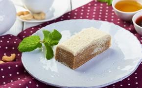 Picture tea, cake, mint, honey