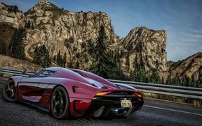Picture road, mountains, supercar, Grand Theft Auto V, Koenigsegg Regera