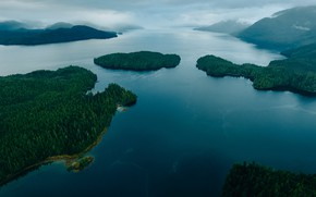 Picture forest, the sky, water, clouds, lake, river, Canada, Canada, British Columbia, British Columbia, Great Bear …