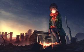 Picture the sky, night, girl, tanikawa