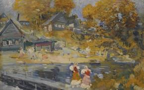 Picture autumn, river, picture, village, Konstantin Korovin, Russian Landscape