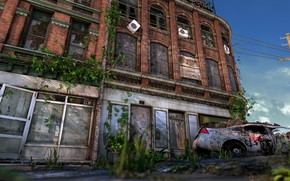 Picture destruction, car, desolation, the building, Ruined City