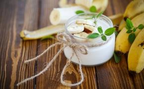 Picture Breakfast, banana, mint, yogurt, Peredniankina