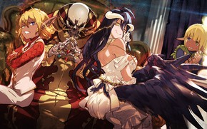 Picture girl, anime, art, skeleton, Overlord, The Lord