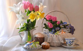 Picture flowers, roses, eggs, Easter, tulips, cake, daffodils