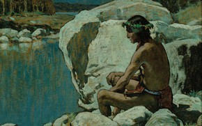 Picture river, stones, wreath, sad, Eanger Irving Couse, Moonlight 3, thoughtful Indian