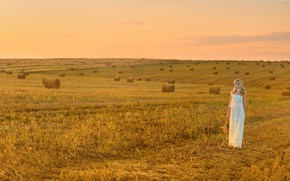 Wallpaper hay, field, girl, space, stubble