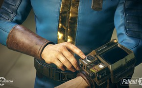 Wallpaper close-up, art, Fallout, wallpaper., Bethesda Game Studios, Fallout 76, Vault Suit in armor, character on ...