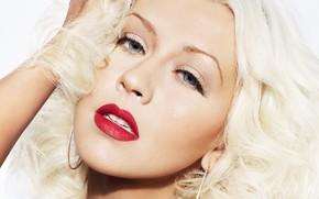 Picture blonde, singer, Christina Aguilera, red lipstick