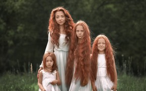 Picture hair, girls, red, sisters