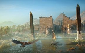 Wallpaper eagle, river, Egypt, bird, the evening, fortress, the city, the building, Assassin's Creed Origins