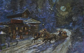 Picture winter, night, picture, three, Konstantin Korovin, Moonlit Troika Ride