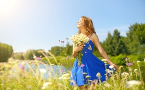 Wallpaper flowers, smiling, keeps, redhead, hairstyle, river, girl, lawn, the sun, dress, bouquet, nature, trees, bokeh, ...