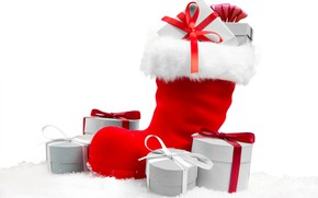 Picture red, holiday, Christmas, gifts, white background, New year, fur, ribbons, box, boots
