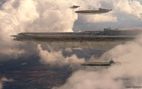 Picture the sky, clouds, transport, ships, Mothership Escort