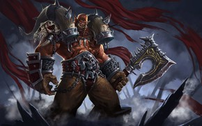 Picture weapons, fantasy, art, Orc, the leader, Grom Hellscream, Garrosh Hellscream, the Warsong, Simple Wang WHB