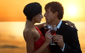 Wallpaper sunset, dress, horizon, glasses, in red, the evening, male, costume, brunette, pair, lovers, love, wine