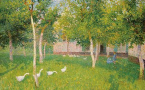 Picture landscape, picture, Geese and Children in the Garden, Gustave de Smet, Gustave De Smet
