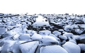 Picture snow, fog, stones