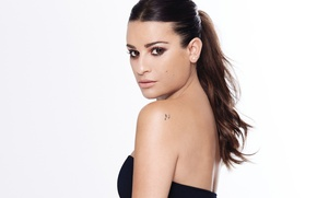 Picture look, portrait, makeup, actress, brunette, hairstyle, white background, singer, photoshoot, in black, Lea Michele, the …