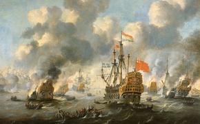 Wallpaper sail, Tree, The burning of the English Fleet in Chatham, battle, Peter van de Velde, ...