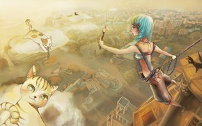 Picture clouds, girl, kittens, brush, artist, blue hair, the view from the top, insurance, panorama of …