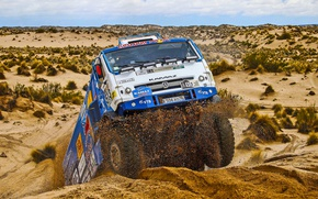 Wallpaper Race, Dakar, Dakar, Kamaz, Rally, Master, The front, KAMAZ, Desert, Master, Sand