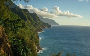 Picture mountains, the ocean, coast, Hawaii, Pacific Ocean, Hawaii, The Pacific ocean