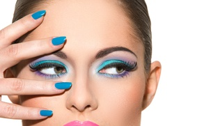 Wallpaper make-up, Painted nails, eyes