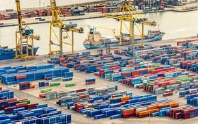 Wallpaper Port, The ship, A container ship, Cranes, Terminal, Container, Maersk, Maersk Line, Container, Zaton