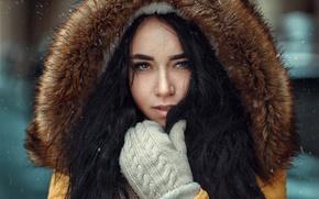 Picture winter, look, snowflakes, portrait, makeup, brunette, hairstyle, hood, fur, Angelina, mittens, bokeh, jacket, Hakan Erenler