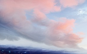Picture planet, pink clouds, Starfall, by exobiology