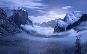 Picture winter, forest, snow, mountains, night, Yosemite valley