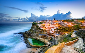 Picture Clouds, Home, The evening, The city, Rock, Portugal, Coast, The Atlantic ocean, Sintra, Azenhas do …