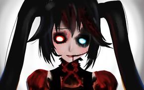 Picture girl, Gothic, blood, Hatsune Miku, Vocaloid