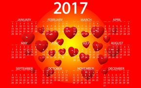 Wallpaper yellow, red, design, background, graphics, new year, vector, heart, figures, hearts, bright, calendar, year, date, ...